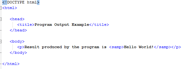 HTML Program Output