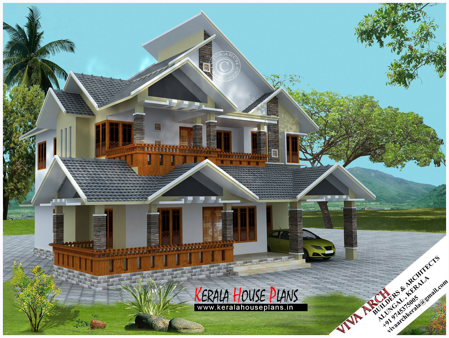 2680 kerala village style slope roof house kerala for Village home designs