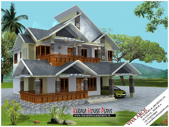 2680 sq.ft Kerala Village style Slope Roof  House