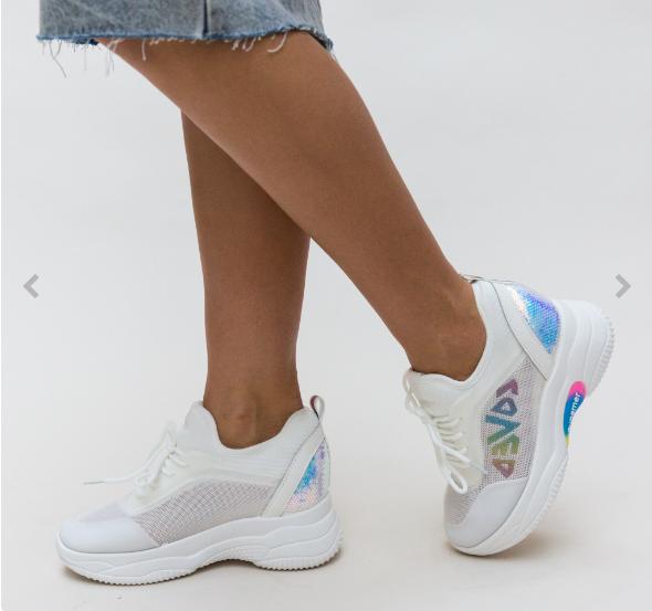 Adidasi dama cu platforma de 5 cm albi cu imprimeu multicolor