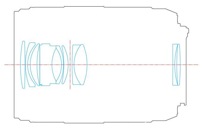 Оптическая схема объектива Yongnuo YN 60mm f/2 MF