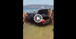 BMW στη Θάλασσα στην Αμμουλιανή Χαλκιδικής - Video