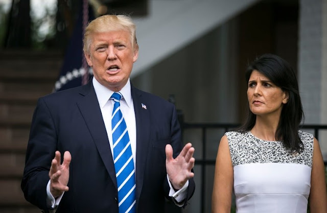 Nikki Haley and Trump speaking