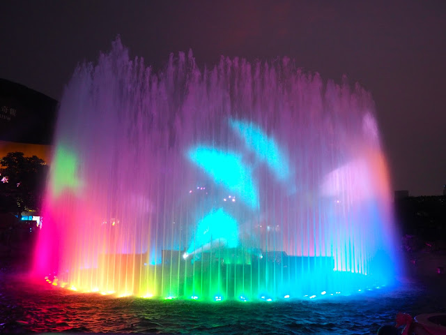 Fountain with animal image projections during Symbio show, Ocean Park