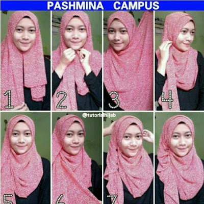 Tutorial Style Hijab Pashmina Campus