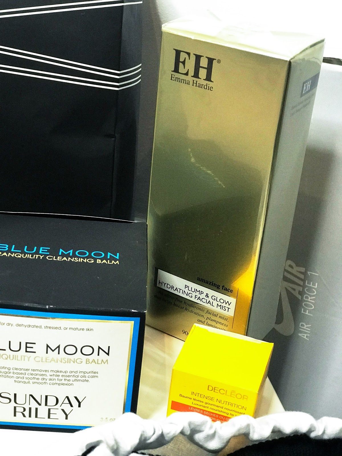 Emma hardie hydrating facial mist Sunday Riley blue moon balm