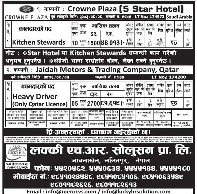 Jobs in 5 Star Hotel Crowne Plaza in Saudi Arabia for Nepali, Salary Rs 44,013