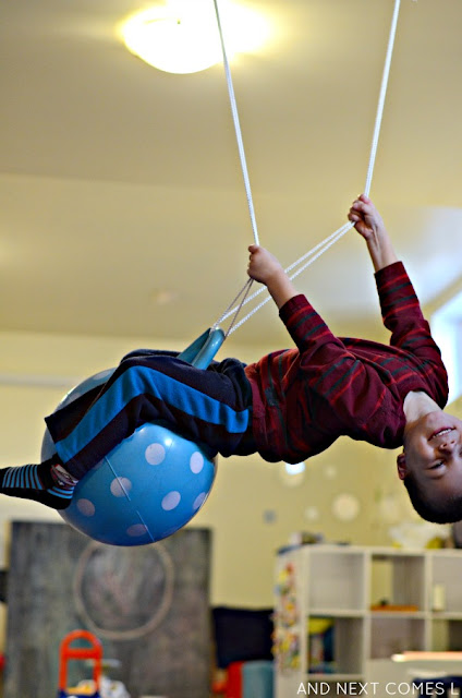 Sensory hack for kids: DIY ball swing from And Next Comes L