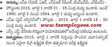 Telangana SI of Police Recruitment 2016 Age Limit and Relaxation TS Police sub Inspector of Police Age limit Maximum age exemption minimum age limit age relaxation SI Age limit for OC BC SC ST Notification 2015-16 Stipendiary Cadet Trainee (SCT) Sub Inspectors of Police Civil Men in Police Department Recruitment Notification 2016 at AR / SAR CPL / APSP/ SPF / Station Fire Officers (SFO) Man or Women Posts Communications transport Telangana Police SI Notification 2016 released today officially from Telangana State Level Police Recruitment Board (TSLPRB). Applications are invited through online mode only from the official site, www.tslprb.in