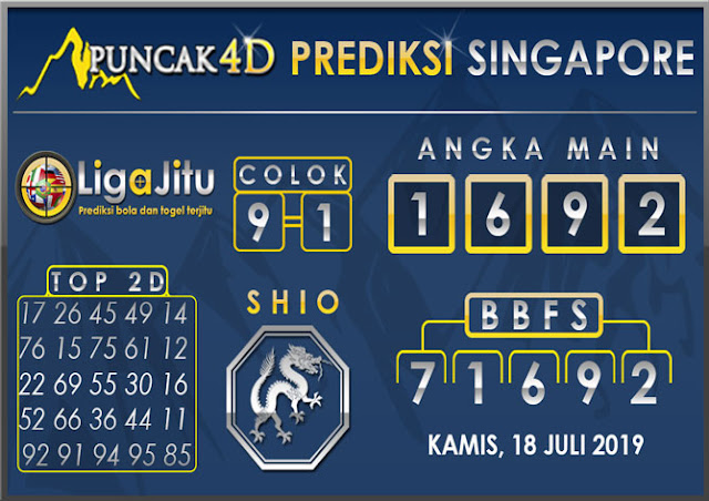 PREDIKSI TOGEL SINGAPORE PUNCAK4D 18 JULI 2019