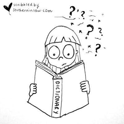 Girl confused at dictionary cartoon