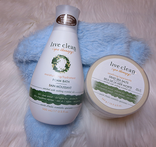 Live Clean Spa Therapy Moisturizing Foam Bath and Live Clean Spa Therapy Soothing Dead Sea Salts