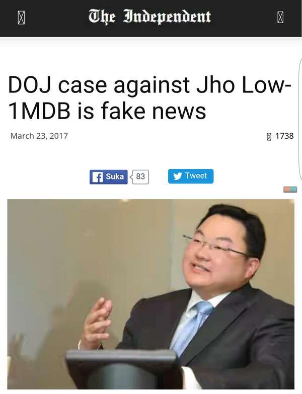 The Independent UK Dakwa Laporan Kes 1MDB Dan Jho Low Adalah Berita Palsu