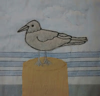 ProsperityStuff Block for Nautical Quilt: Seagull standing on wood