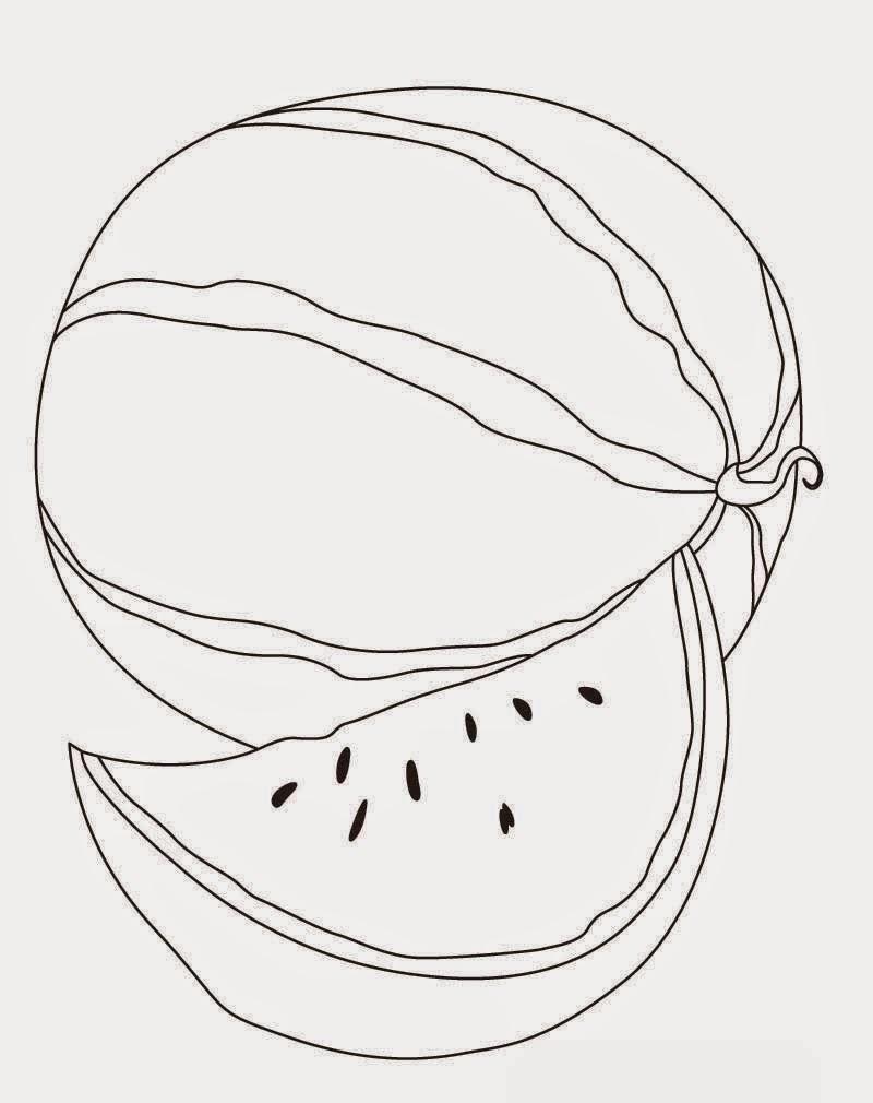 Gambar Semangka Hitam Putih : gambar, semangka, hitam, putih, Sketsa, Gambar, Semangka, Hitam, Putih