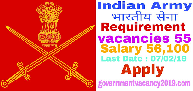 Indian Army Recruitment 2019 for OfficersSoldiers  55 Vacancies  Last Date 21 February 2019 governmentvacancy2019.com