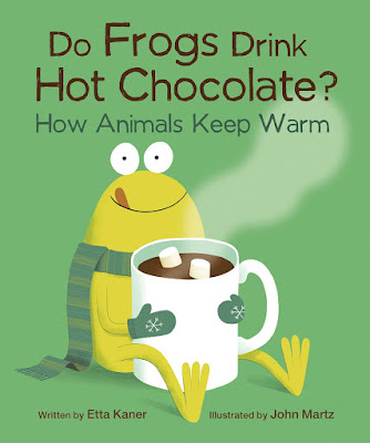 "Animals that live in cold environments need to stay warm, but how? Author Etta Kaner poses humorous (and sometimes true) questions about how animals stay warm like ""Do penguins snuggle with a friend,"" and then reveals interesting tidbits how these animals actually survive during winter.   Great illustrations paired with amusing yet informative text makes Do Frogs Drink Hot Chocolate? a fun, fact-filled read kids will love!  #OwlkidsBooks #NetGalley #Nonfiction #DoFrogsDrinkHotChocolate"