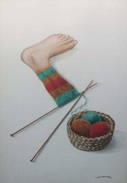 acuarela surrealista isidro ventura calcetín