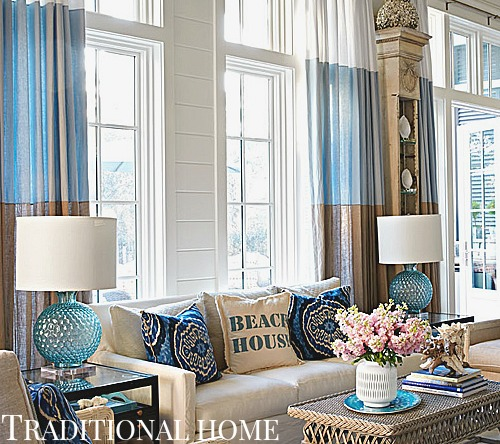 Florida Condo Decorating Ideas: Grand Coastal Beach House In Pastel Blue & Sandy Beige