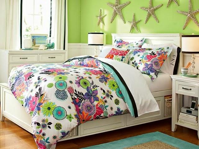 dormitorio floral para chica
