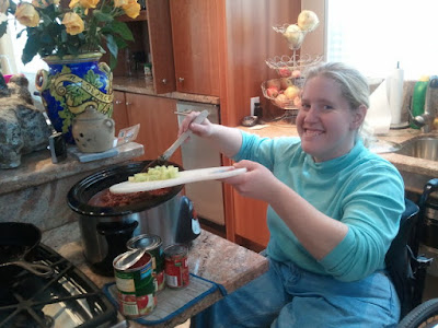 My daughter learning the ease and fun of Crockpot Chili