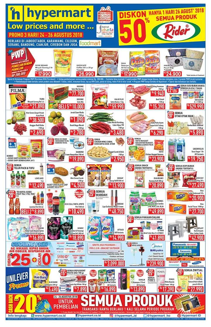 Hypermart - Katalog Promo Low Price and More Periode 24 - 26 Agustus 2018