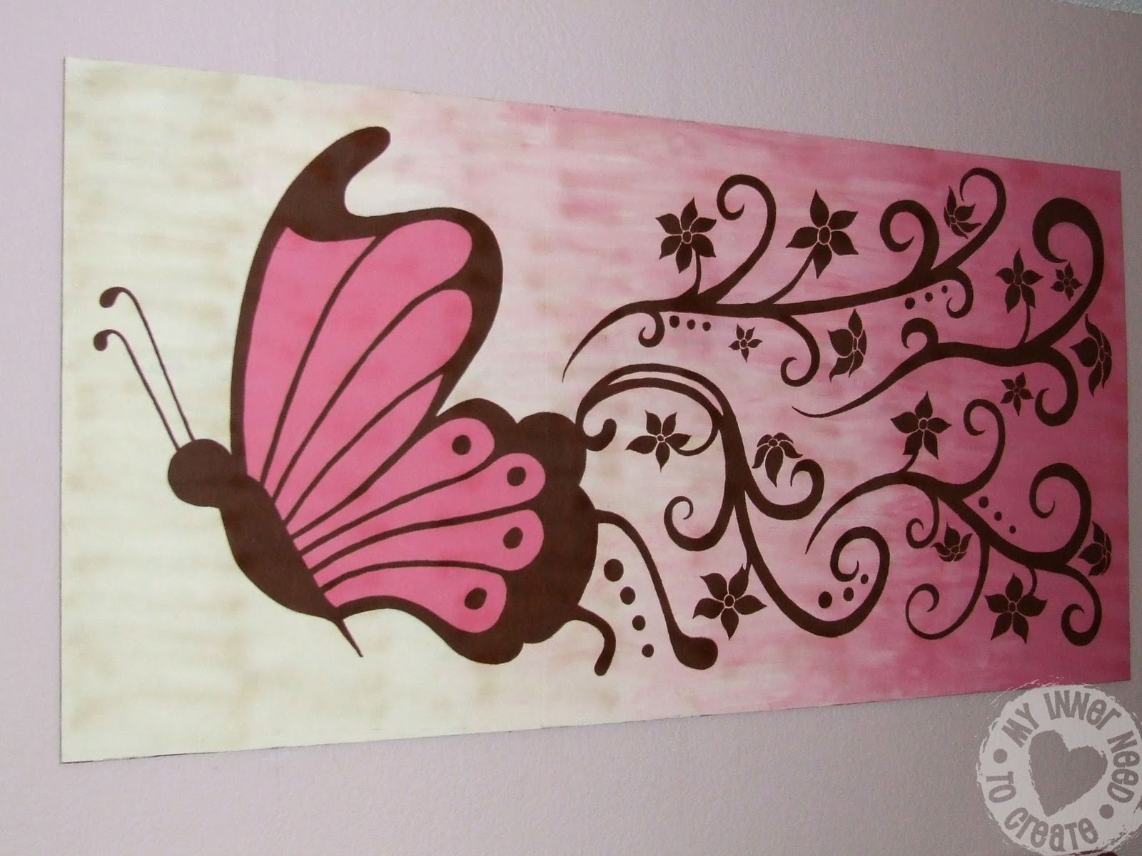 My Inner Need To Create Brown And Pink Butterfly Flower Mural