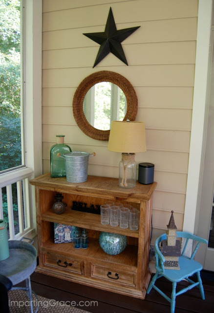 Old bookcase was cut in half to create a small sideboard for screened porch