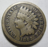 1862 U.S. Indian Head Cent Copper-Nickel Penny