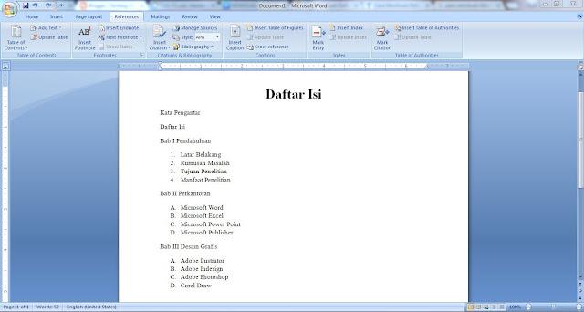 Cara Praktis Membuat Titik-titik Daftar Isi Otomatis di Microsoft Word