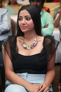 Swetha Basu in a Black Sleeveless Top Long Skirt at Mixture Potlam Movie Audio Launch 045.JPG