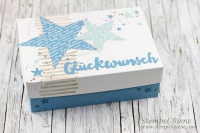 Geschenk zur Geburt; Stampinup Babygeschenk, Babyworkshop; Babykarte Junge; Geschenkschachtel Geburt; Stampinup Recklinghausen; Stempel-Biene
