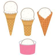 いろいろなアイスのコーンのイラストアイスクリーム かわいい