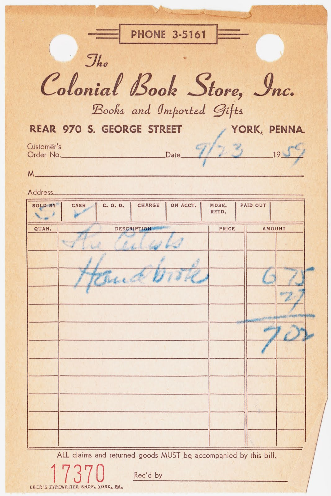 Papergreat 1959 Receipt From The Colonial Bookstore In York