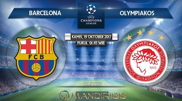 Barcelona akan menjamu Olympiakos pada pertandingan lanjutan Grup D Liga Champions Berita Terhangat Prediksi Bola : Barcelona Vs Olympiakos , Kamis 19 Oktober 2017 Pukul 01.45 WIB