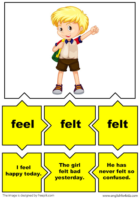 irregular verbs puzzle flashcards, verb feel