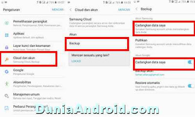 setting pencadangan data di HP samsung