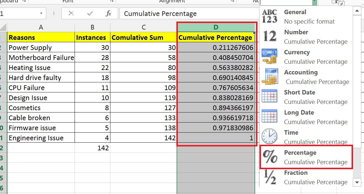 How to create a pareto chart in excel 2013 techsforhelp free changing number format in excel nvjuhfo Gallery