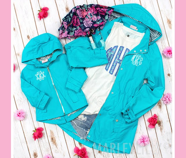 monogram rain jacket for mom and daughter