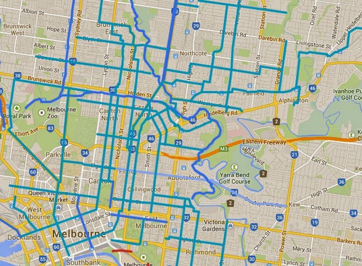 Melbourne map of key cycling transport routes, infrastructure and