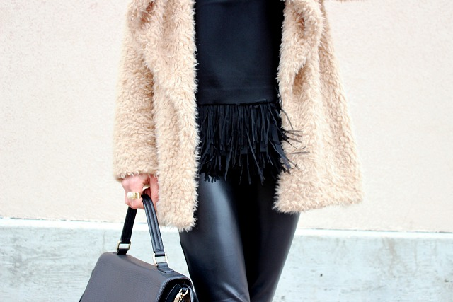 Blush Faux Fur Coat, Fringe top, Faux leather pant- Winter Style