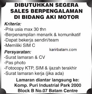 Lowongan Kerja Sales Aki Motor
