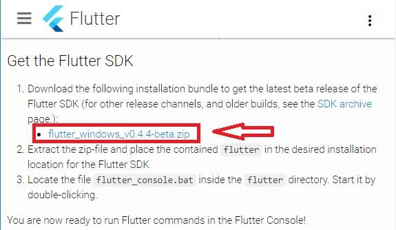 Download Flutter SDK
