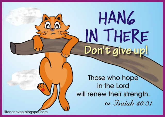 hang in there cat cartoon