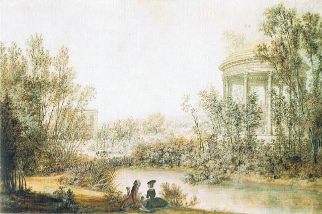 tableau marie antoinette louis nicolas lespinasse vue du petit trianon et du temple de l'amour , vanessa lekpa