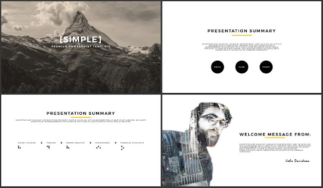 Desktop Screen Mock-up and Multi - Purpose Free PowerPoint Template [SIMPLE] Slides 1-4
