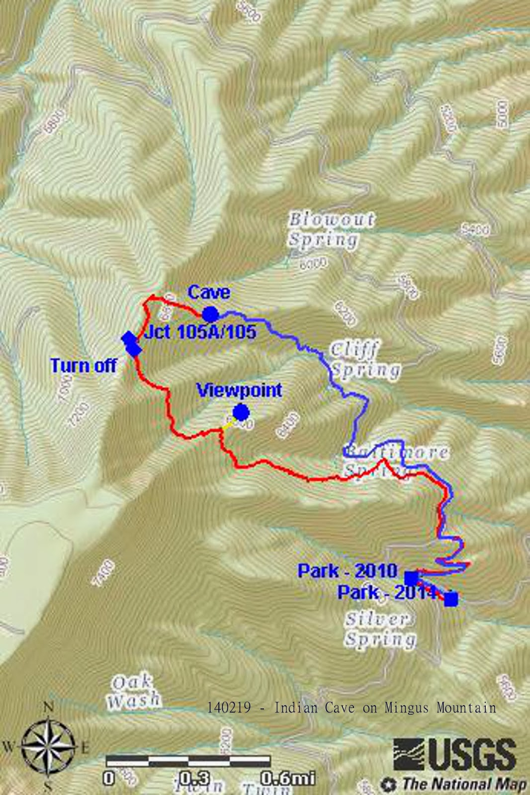 the red track shows our hike to the cave while the blue track shows the route we took back the short yellow track shows the way to the viewpoint we visited