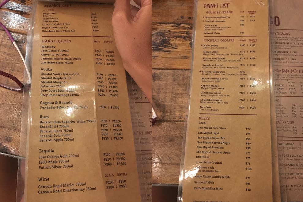 gringo bgc menu