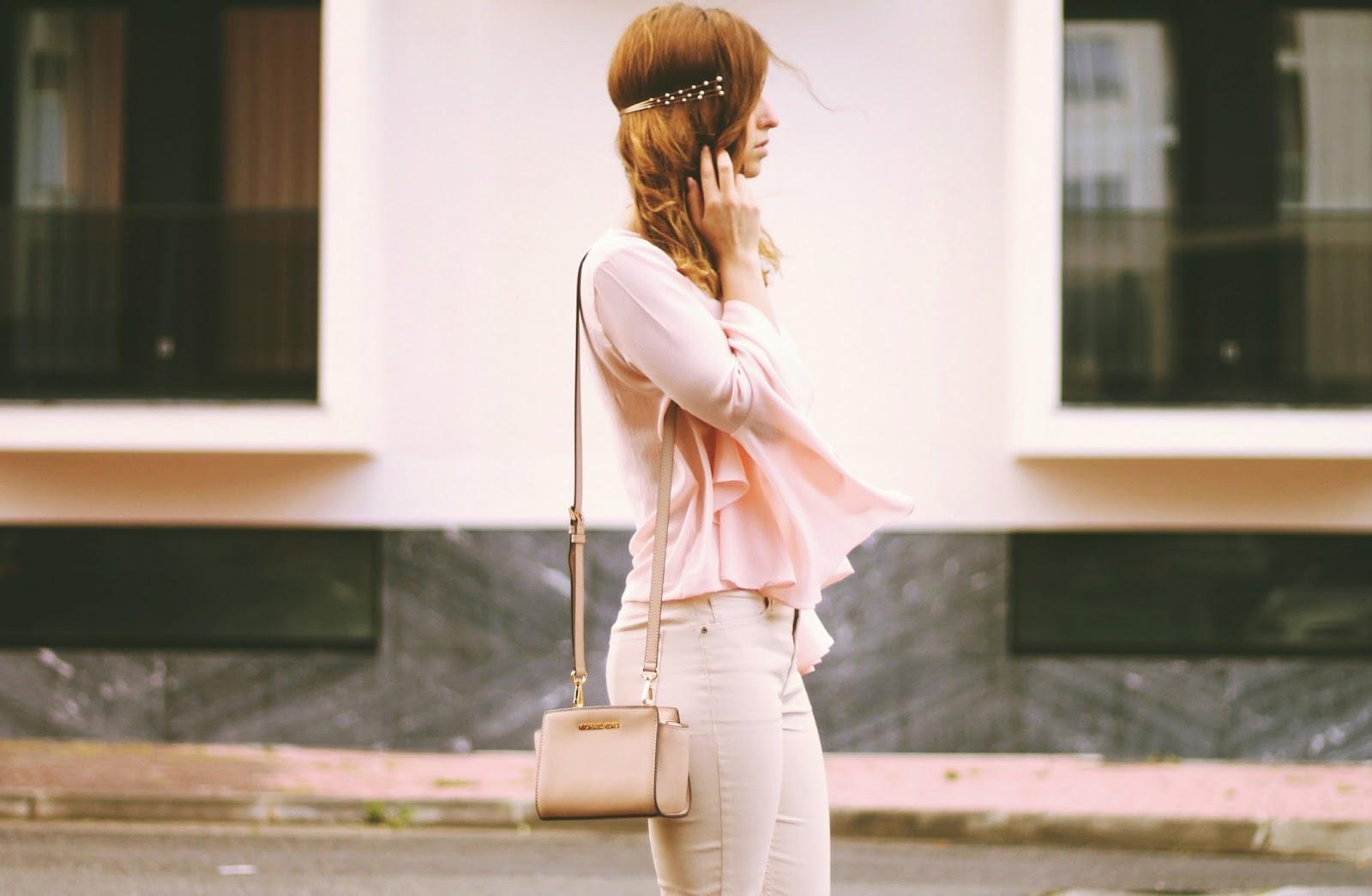 0bb869401 bell sleeve pink blouse: Abacat (similar here) | beige coated jeans: Mango  | pearl headpiece: Vilanova blush bag: Michael Kors Selma Mini messenger  (similar ...