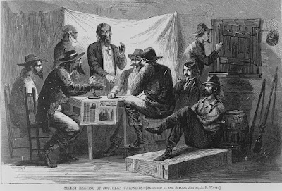 "Harper's Weekly, 1866; Nine men, called scalawags, at ""Secret Meeting of Southern Unionists."""